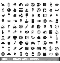 100 culinary arts icons set simple style vector