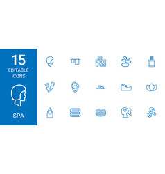 15 spa icons vector