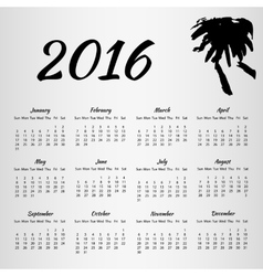 2016 Calendar with inkblot on white background vector image