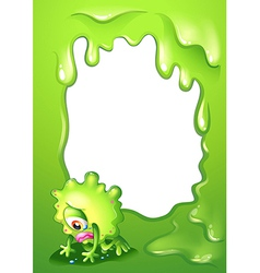A green border template with a monster crying vector image