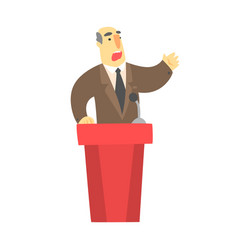 A man public speaking behind a red tribune in a vector