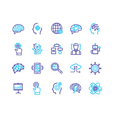 Ai sign color thin line icon set vector