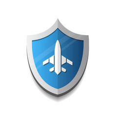 air flight company logo plane on shield icon vector image