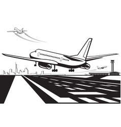 aircraft touchdown on runway at airport vector image