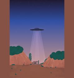Alien ship arrival ufo on the horizon over vector