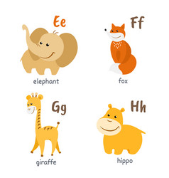 animal alphabet with elephant fox giraffe hippo vector image