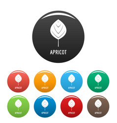 apricot leaf icons set color vector image