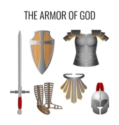 Armor of god elements set isolated on white vector