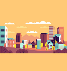 autumn city landscape simple cityscape vector image