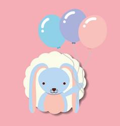 Beautiful rabbit with balloons label decoration vector