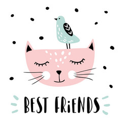 best friends print poster or card vector image