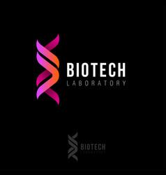 Biotech laboratory logo dna logo two ribbons vector