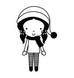 black icon christmas little girl vector image