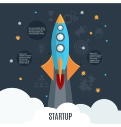 Business startup rocket launch flat poster vector