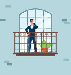 Businessman character talking on phone on balcony vector