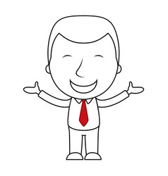 businessman line cartoon face happy expression vector image