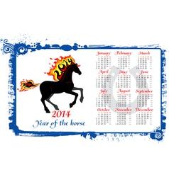 Calendar 2014 horse vector image