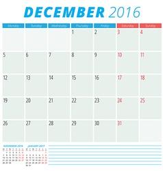 Calendar 2016 flat design template December Week vector