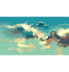 Cartoon drawn blue sky with colorful clouds vector