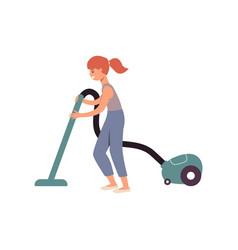 cartoon girl doing housework using a vacuum vector image