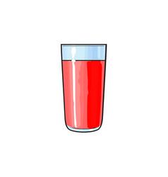 cartoon glass cup of red fruit juice vector image