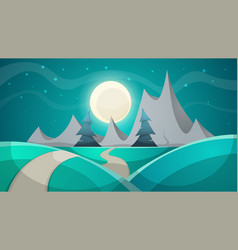 Cartoon night landscape fir mountain vector