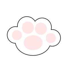 Cat paw print leg foot icon with pink pads cute vector