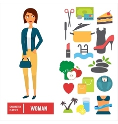 Character set woman Casual cloth with icons vector image
