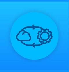 cloud technology linear icon vector image vector image