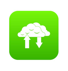 clouds with arrows icon digital green vector image