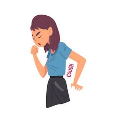 Cold symptom girl having cough medical treatment vector