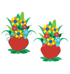 colorful flowers in a pot vector image