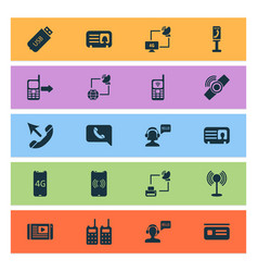 Communication icons set with smart watch mobile vector
