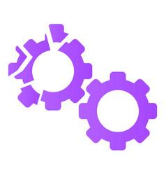 Cracked gear icon cartoon style vector