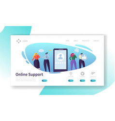 Customer support internet service landing page vector