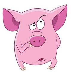 cute cartoon pink pig vector image