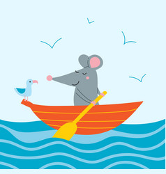 cute rat in orange boat vector image