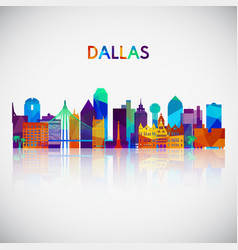 dallas skyline silhouette in colorful geometric vector image