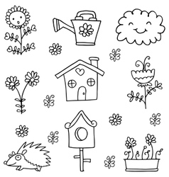 Doodle of spring item garden collection vector