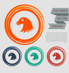 Eagle icon on the red blue green orange buttons vector