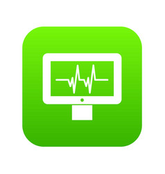 Electrocardiogram monitor icon digital green vector