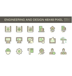 engineering and architecture icon set design vector image