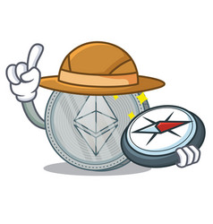 Explorer ethereum coin character cartoon vector