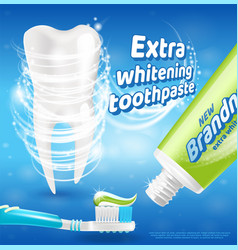 Extra whitening toothpaste healthy teeth concept vector