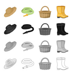 farm hat watering hose basket rubber boots vector image