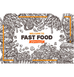 fast food monochrome background vector image