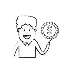 figure man with coin cash money in the hand vector image