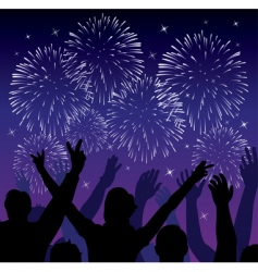 fireworks with silhouettes vector image