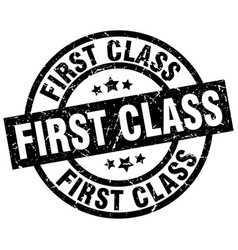 First class round grunge black stamp vector