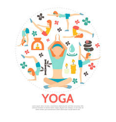flat yoga round concept vector image